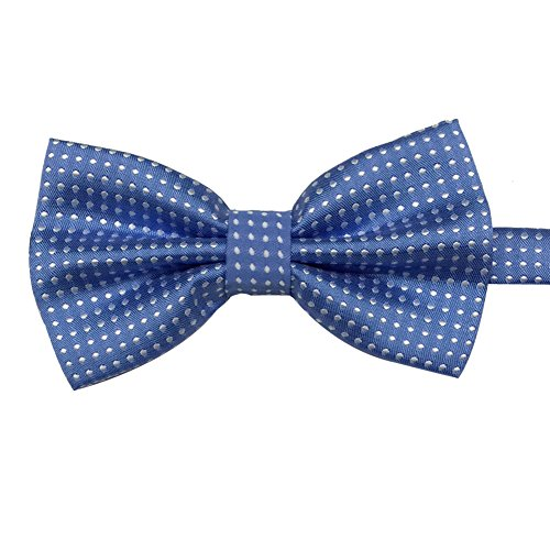 - AINOW Mens Formal Dots Pattern Handmade Bow Ties Bowties Various Colors (Light Blue White Dots)