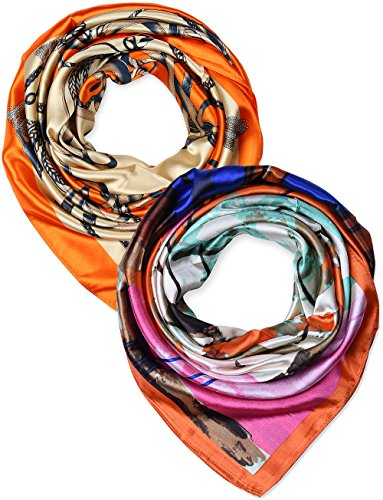 2 Pcs 35 Inches Silk Feeling Orange Beige Chains and Coral Abstract Square Scarf Hair Scarves