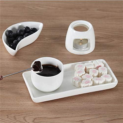 RJJ Fromage à Fondue crème glacée Fondue Fondue au Chocolat Blanc en céramique Mini Fondue avec Fourche