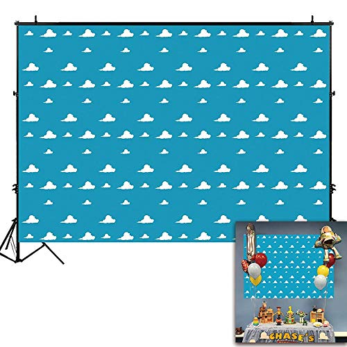 (Funnytree 7X5ft Blue Sky White Clouds Backdrop Cartoon Kids Birthday Party Boy Baby Shower Background Step and Repeat Dessert Table Banner Photo Studio Photography)