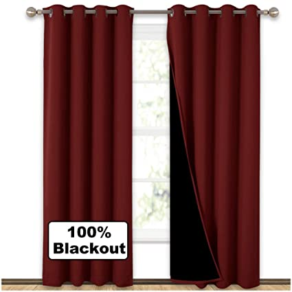 amazon com nicetown 100% blackout curtains black liner backingnicetown 100% blackout curtains black liner backing, thermal insulated curtains living room, noise