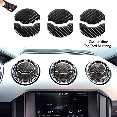 6 Carbon Fiber Lnner Air Conditioning Vent Outlet Cover for Ford Mustang 2015-2019