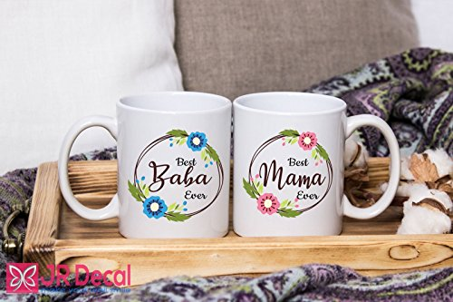Best Baba and Mama Ever - printed Islamic Mugs Gifts for Muslim Fathers and Mothers - Personalized Islamic weeding gift, Muslim mugs coffee Mugs Couple Mugs by JR Decal Wall Sticker