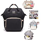 Diaper Bag, Multi-Function Waterproof Nappy Bags for Baby Care Large Capacity Travel Backpack (Black)