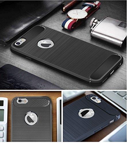 Funda iPhone 6 Plus/6S Plus,Alta Calidad Ultra Slim Anti-Rasguño y Resistente Huellas Dactilares Totalmente Protectora Caso de Cover Material de fibra de carbono TPU Adecuado para el iPhone 6/6S Plus D