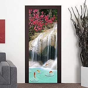 LMHWW Etiqueta Puerta 3D Impresión Arte Moderno Paisaje De Carpa En Cascada 95X215Cm Pvc Dormitorio De La Habitación Paisaje De La Habitación Del Niño Con Decoración De Decoración Del Hoga