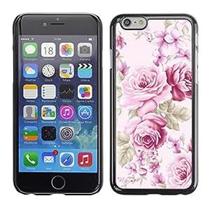 FECELL CITY // Duro Aluminio Pegatina PC Caso decorativo Funda Carcasa de Protección para Apple Iphone 6 // Pink Old Vintage Lady Feminine