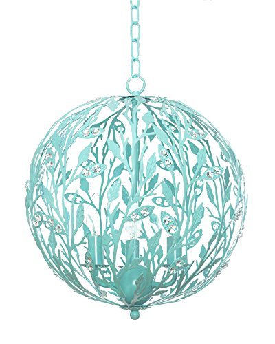 Fluorescent Chain Hung Lamp - Luna Light Fixture - Turquoise, 15-Inches Diameter, 4-Light, Firefly Kids Lighting