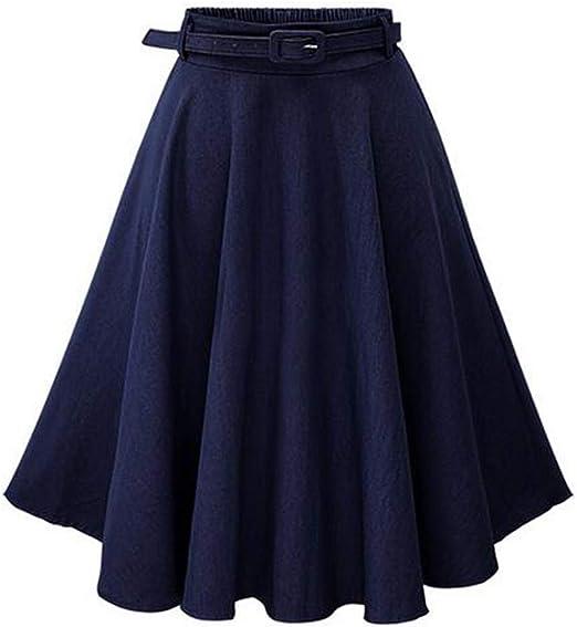 ZOOMY Falda de Skate de Verano para Mujer Falda de Mezclilla Midi ...