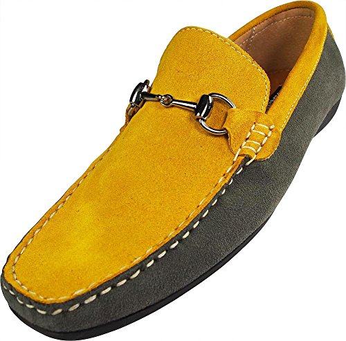 Masimo Mens Two Tone Suede Metal Horse Bit Buckle Driving Moccasin  Yellow  Grey 39633 8 5D M  Us