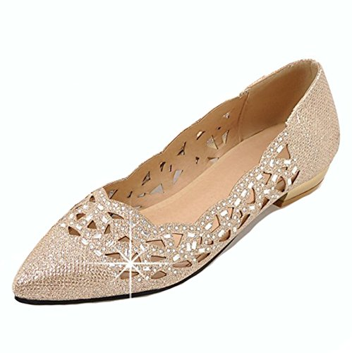 Aisun Women's Cutout Rhinestone Pointy Toe Low Cut Dress Driving Wear To Work Office Slip On Flats Shoes
