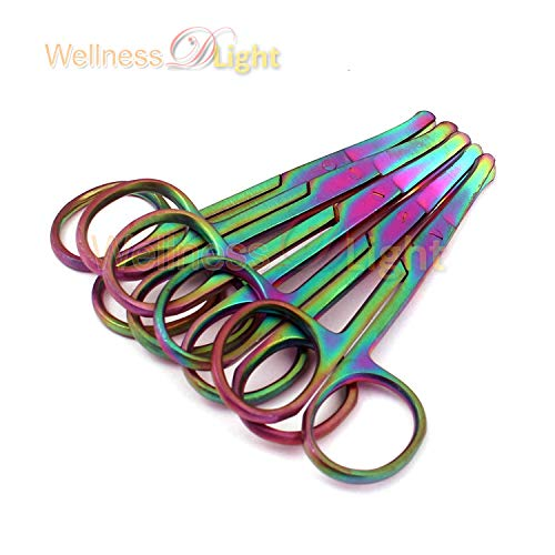 Wdl Set of 5 Multi Titanium Color Rainbow Safety Nose Mustache Scissor 3.5″ Curved Stainless Steel