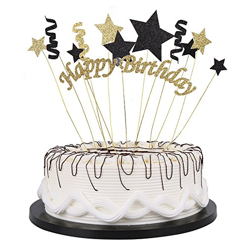 Handmade Black and Glod Glitter Pentacle Pentacle Cake Toppers Happy Birthday Cake Bunting Topper Paper Highest Quality, Birthday Party Decoration