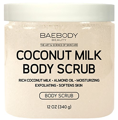 Baebody Coconut Milk Body Scrub: With Dead Sea Salt, Almond Oil, and Vitamin E. - Exfoliator, Moisturizer Promoting Radiant Skin 12oz. by Baebody (Image #1)