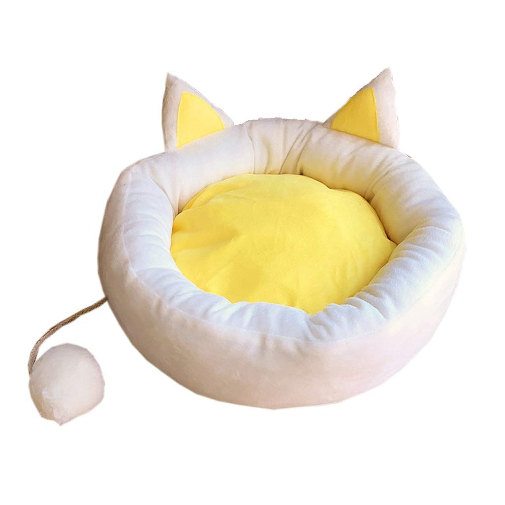 52cm JSSFQK Egg Yolk Cat Nest Four Seasons Universal Cushion Removable And Washable Cat Supplies, Small Kennel, Three Sizes pet bed (Size   52cm)