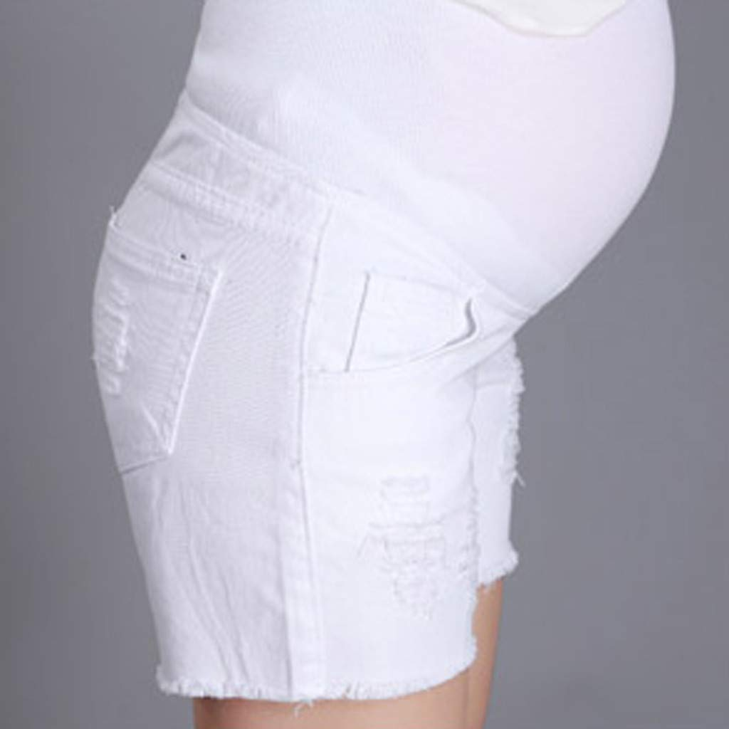 SCHOLIEBEN Pregnant Woman Ripped Jeans Maternity Solid Short Pants Nursing Prop Belly