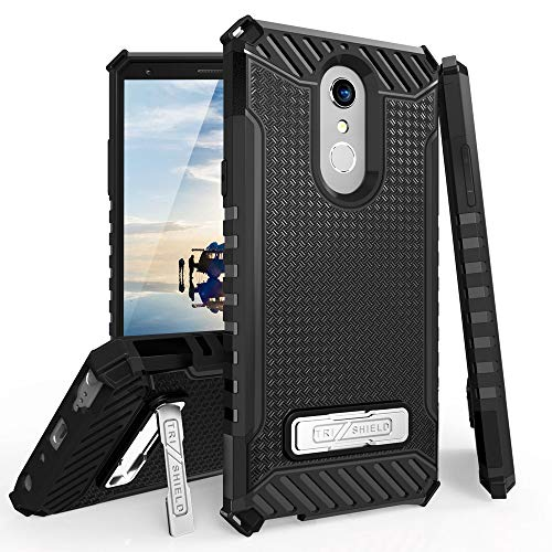 TJS LG Stylo 4 2018 / LG Stylo 4 Plus/LG Q Stylus Case, with Metal Kickstand Dual Layer Hybrid Drop Protection Shock Absorbing Resist Rugged Shockproof Armor Phone Case Cover ()