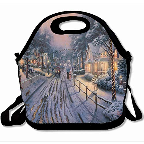 (Ahawoso Reusable Insulated Lunch Tote Bag Hometown Christmas Memories By Thomas Kinkade 10X11 Zippered Neoprene School Picnic Gourmet Lunchbox)