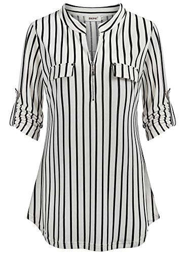 BEPEI Striped Shirt for Women,Feminie Form Fitting Cozy Tunics Mandarin Collar Fall Trend Tops Elbow Sleeve Blouses Work Attire Aesthetic Prime Wardrobe Clothing Polo Style Jersey Black White M ()