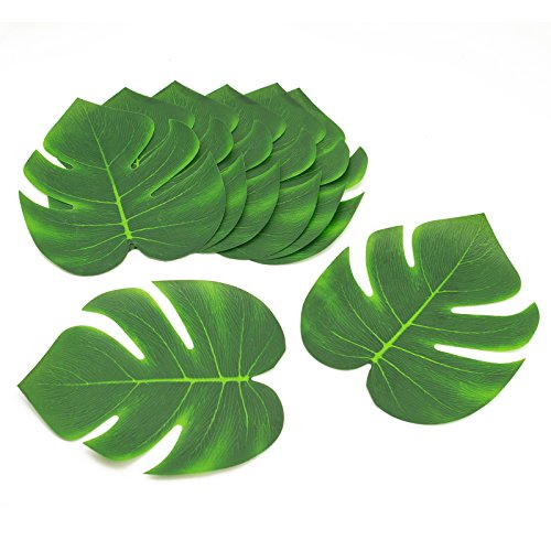 Adorox Coated Fabric Artificial Tropical Green Plant Leaves Hawaiian Luau Party Decoration