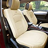 FH GROUP PU205102 Ultra Comfort Leatherette Front Seat Cushions , Solid Beige Color- Fit Most Car, Truck, Suv, or Van
