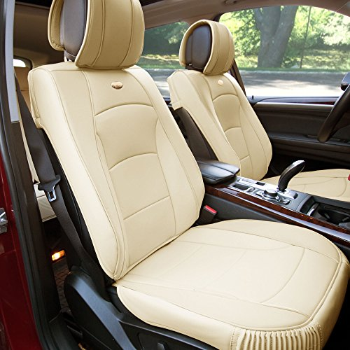 FH GROUP PU205102 Ultra Comfort Leatherette Front Seat Cushions , Solid Beige Color- Fit Most Car, Truck, Suv, or Van Bmw Front Seat
