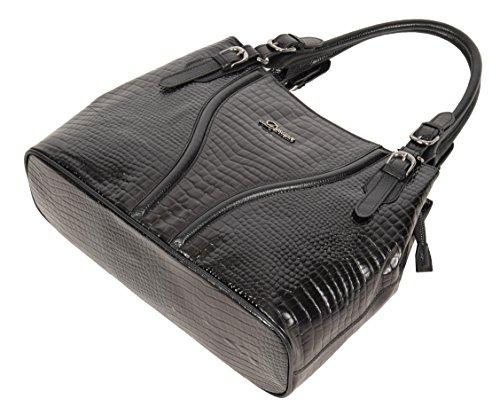 Handbag Crocodile Shoulder Classic Print Real H322 Organiser Leather Black Womens HRx4wOqH