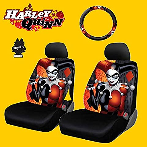 New Design 6 Pieces DC Comic Harley Quinn Car Seat Covers and Steering Wheel Cover Set with Air (Character Air Freshener)