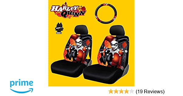 Yupbizauto 6 Pieces DC Comic Harley Quinn Car Seat Covers and Steering  Wheel Cover Set with Air Freshener