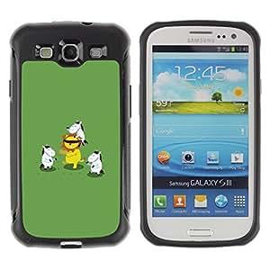 Suave TPU Caso Carcasa de Caucho Funda para Samsung Galaxy S3 I9300 / Animal Cartoon Lion Green / STRONG