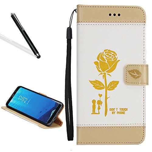 Case for Galaxy S6,Bookstyle Flip Case for Samsung Galaxy S6,Leecase Creative Stitching Color Rose Flower Lover Wrist Strap Magnetic Case Cover for Samsung Galaxy S6-White