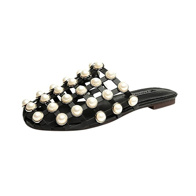 OYSOHE Damen Slipper Frauen Fashion Solide Flache Ferse Perle Sandalen Strandschuhe