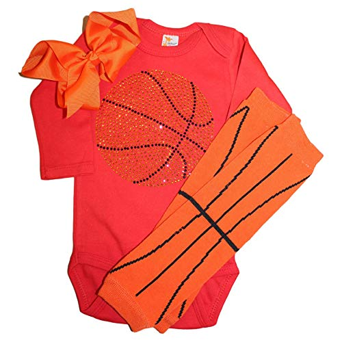 FanGarb Rhinestone Baby Girls Basketball red Outfit, Orange Basketball Leg wamers & Bow (3-6 mo, red)