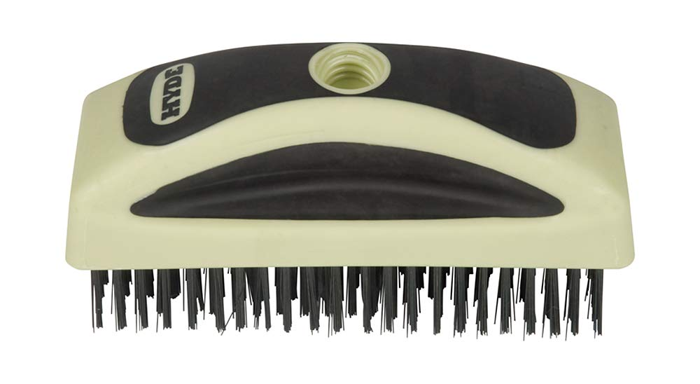 Hyde Tools 46840 6-3//4-Inch MaxxGrip Pro High Carbon Steel Wire Brush