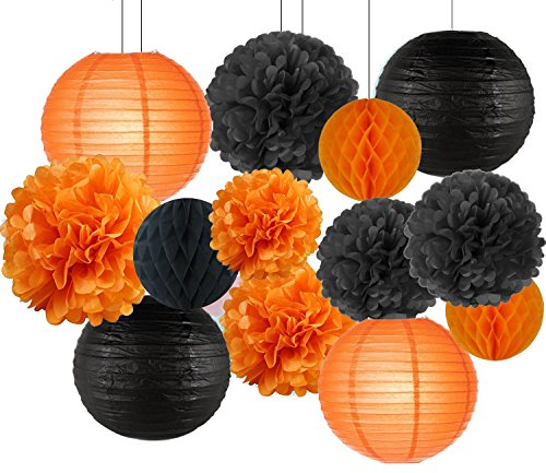 Sogorge Halloween Party Decoration DIY Kit with Black Orange Paper Lanterns, Honeycomb Ball, Pom poms, 13 pieces, For Classroom Home Office Dorm -