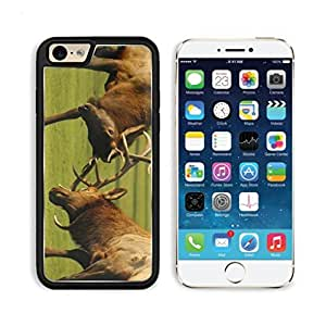 Bull Fight Elk Moose Deer Apple iPhone 6 TPU Snap Cover Premium Aluminium Design Back Plate Case Customized Made to Order Support Ready Luxlady iPhone_6 Professional Case Touch Accessories Graphic Covers Designed Model Sleeve HD Template Wallpaper Photo Jacket Wifi Luxury Protector Wireless Cellphone Cell Phone