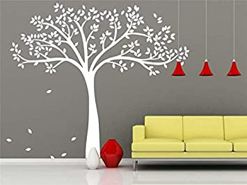 White Tree Wall Decal Nursery Blowing Leaves Wall Murals Art Vinal White Tree  Wall Sticker Large Tree Decal Removable Tree Wallpaper Home: Amazon.co.uk:  DIY ... Part 7