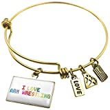 Expandable Wire Bangle Bracelet I Love Arm Wrestling,Colorful - NEONBLOND