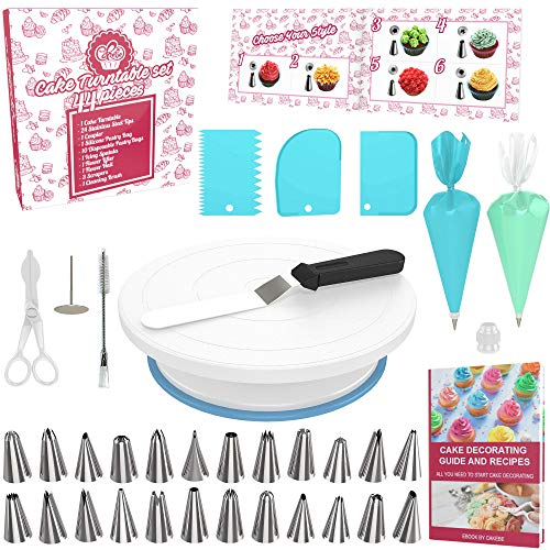 Cake Decorating Kit Cake Turntable - 44pcs Baking Set Turntable Cake Stand - Baking Tools with Cake Turntable Rotating Cake Stand - Baking Kit with Cake Decorating Tips - Piping Sets with Icing Tips