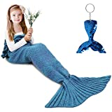 AmyHomie Mermaid Tail Blanket, Mermaid Blanket Adult Mermaid Tail Blanket, Crotchet Kids Mermaid Tail Blanket for Girls (ScaleAvocado, Kids)