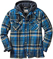 Mens Plaid Drawstring Hooded Jackets, Flannel Long Sleeve Button Up Quilted Lined Jacket Regular and Big Size