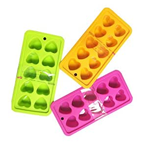 Japanese Heart Shaped Silicone Ice Cube Trays - 3-Pack (Assorted )