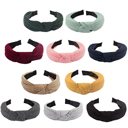 Jaciya 10 Pieces Knotted Headbands for Women Turban Headbands for Women Wide Headbands for Women Knot Headband 10 Colors Diademas para Mujer Headband for Women Turban Headband Knot Headband for Women