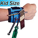 Kids magnetic wristband for holding tools. Children's magnet woodworking tool holder to hold nails screws drivers unique gift for 6 7 8 9 10 years old