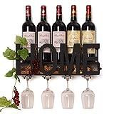 Wall Mounted Wine Rack | Wine Is Grape | Bottle Holder & Glass Holder | Cork Storage