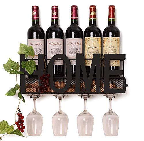 (Wall Mounted Metal Wine Rack Glass Holder Iron Decorative Wine Cork Storage Gift Easy Install)