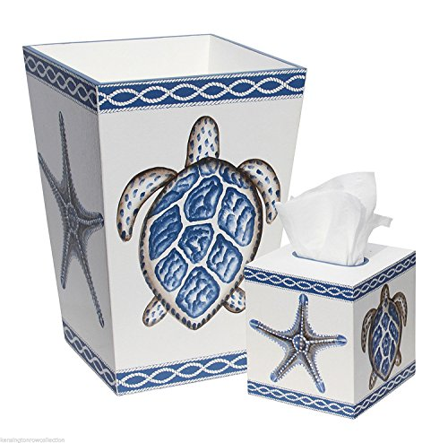 Sea-Turtle-Starfish-Waste-Basket-and-Tissue-Box-Cover-Set-Trash-Can