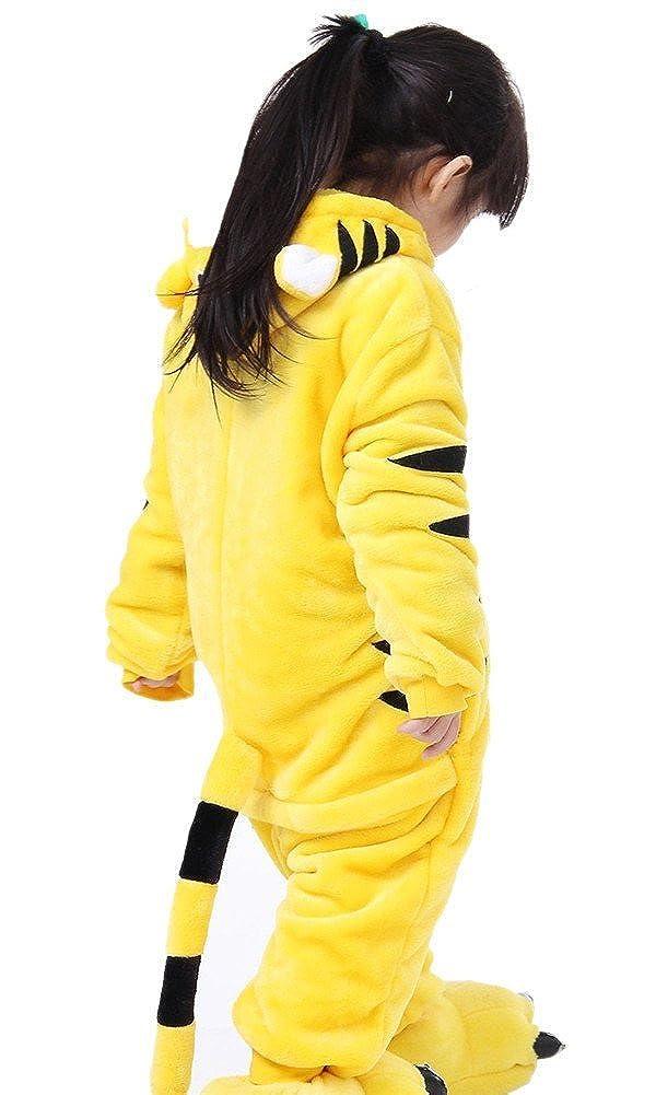 SMITHROA Ensemble de Pyjama Enfant Combinaison Animal Cosplay D/éguisement Halloween Costume Onesie Fille Gar/çon Flanelle PKQ Jaune Taille 125 Taille Hauteur 140-150cm