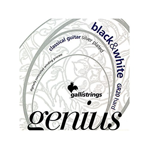 Galli Strings GR20 GENIUS Black And White Coated Silverplated Hard Tension Classical Acoustic Guitar Strings - Galli Guitar Strings