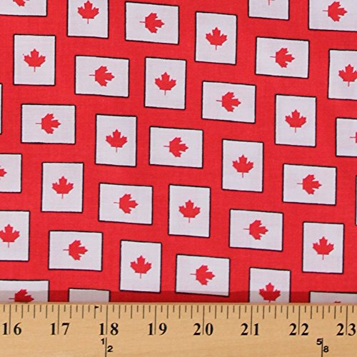 Cotton Red Maple Leaf Leaves Canadian Canada Red Cotton Fabric Print by the Yard - Canada Prints